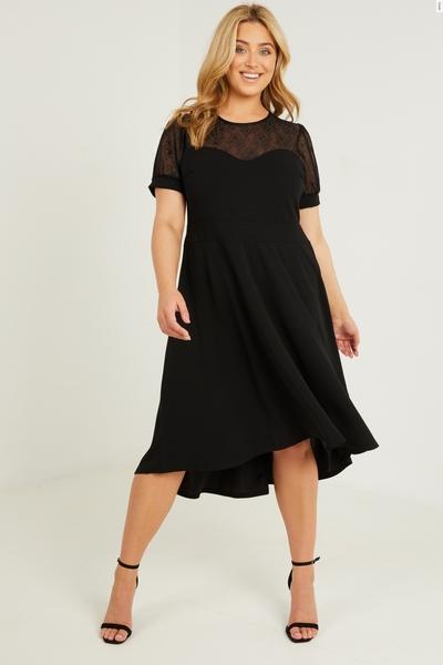 Curve Black Lace Skater Dress